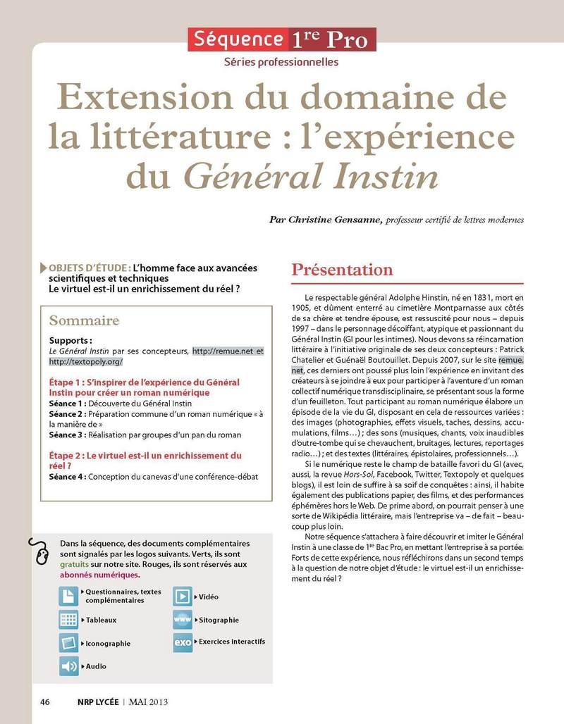 NRP Lycée - Séquence Bac Pro 1re - Extension du domaine de la littérature : l'expérience du Général Instin - Mai-Juin 2013 (Format PDF) (ebook)