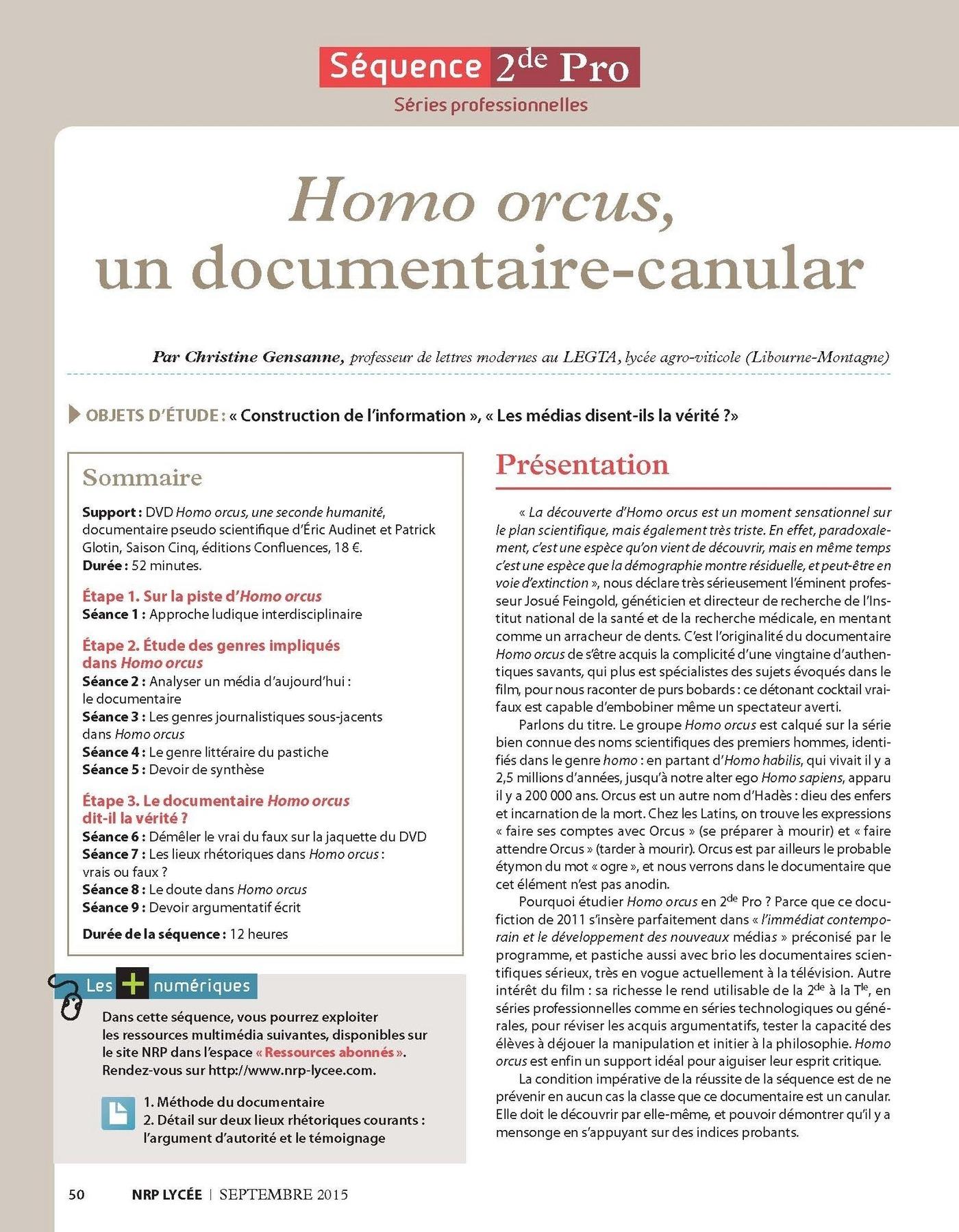 NRP Lycée - Séquence Bac Pro 2de - Homo orcus, un documentaire-canular
