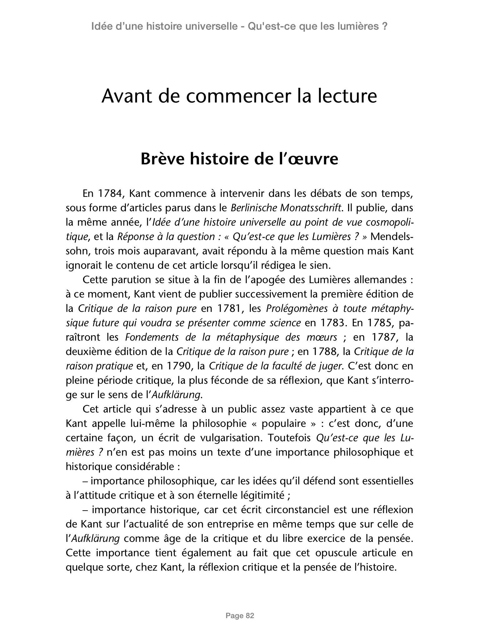 Idee D Une Histoire Universelle Au Point De Vue Emmanuel Kant
