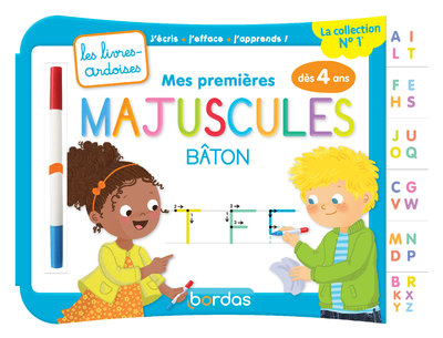 MES PREMIERES MAJUSCULES BATON AVEC 1 FEUTRE EFFACABLE 2 COULEURS - LES LIVRES-ARDOISES