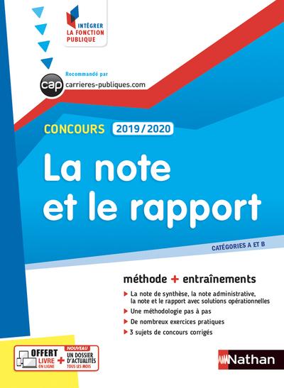 LA NOTE ET LE RAPPORT 2019/2020 - CATEGORIES A ET B - N° 26 - (INTEGRER LA FONCTION PUBLIQUE) - 2018