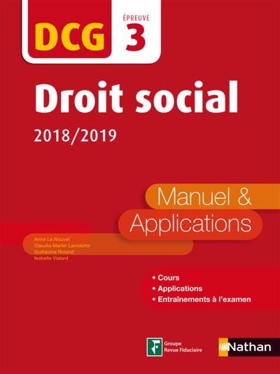 DROIT SOCIAL 2018/2019 DCG EPREUVE 3 MANUEL & APPLICATIONS 2018