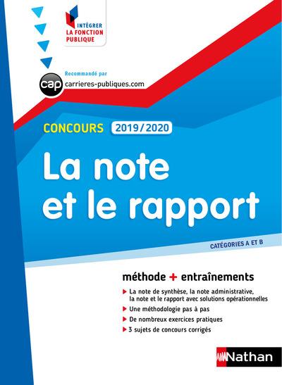 LA NOTE ET LE RAPPORT 2019/2020 - CATEGORIES A ET B - NUMERO 26 (INTEGRER LA FONCTION PUBLIQUE)