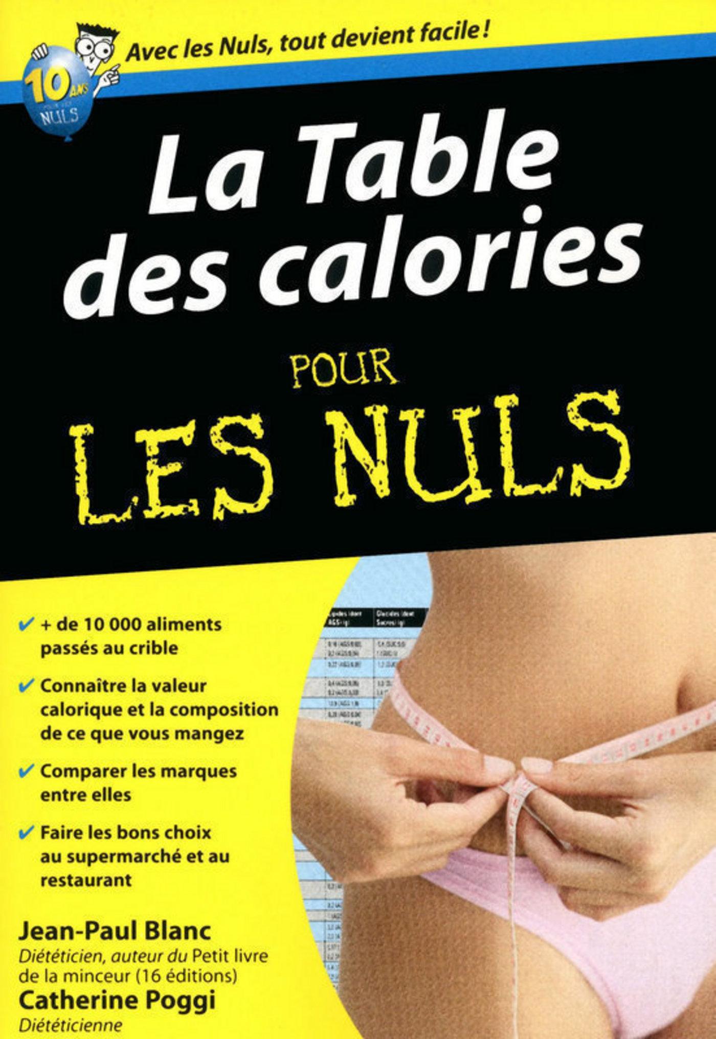 Table des calories Pour les Nuls (ebook)